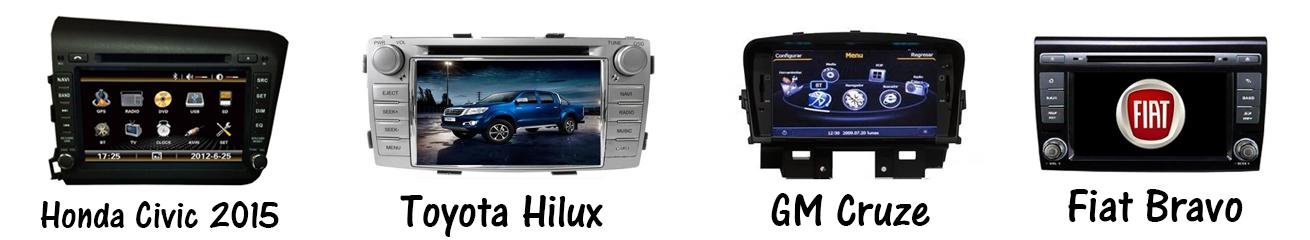 Central Multimídia - Honda Civic 2015; Toyota Hilux; GM Cruze; Fiat Bravo
