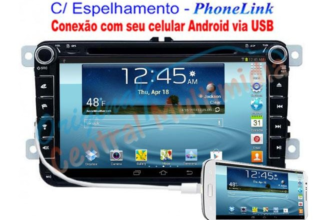 Central Multimídia VW Jetta Tiguan Amarok 2008 a 2015 - PhoneLink